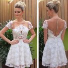 Lace Short Sleeve Homecoming Dress,  White Open Back Short Homecoming Dress