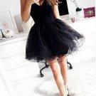 Sweetheart Sexy Summer Strapless Homecoming Dress, Black Chiffon Homecoming Dress