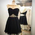 Chiffon Backless Sequins Homecoming Dress, Black Sweetheart Strapless Homecoming Dress