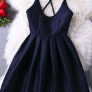Black Simple Homecoming Dress, Scoop Cross Strap Back Homecoming Dress