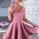 Deep V Neck Sexy Homecoming Dress, Baby Pink Short Homecoming Dresses