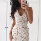 Lace Open Back Homecoming Dress, White Deep V Neck Homecoming Dress