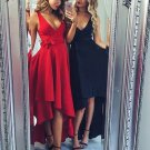 Long Sexy Homecoming Dress, Black Deep V Neck Homecoming Dress