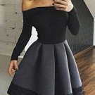 Long Sleeves Homecoming Dress with Grey Skirt, Black Off Shoulder Homecoming Dress