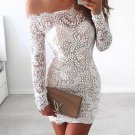 Lace Close-Fitting Homecoming Dress, White Off Shoulder Homecoming Dress