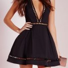 Black Deep V Neck Homecoming Dress, Short Sexy Homecoming Dress