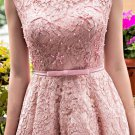 Sweet Long Homecoming Dress, Pink Lace Bowknot Homecoming Dress