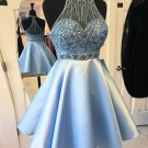 Short Prom Dress, Blue Beads Halter Homecoming Dress