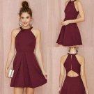 Simple Sexy Homecoming Dress, Burgundy Halter Homecoming Dress
