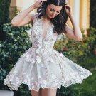 Sexy Short Homecoming Dresses, Appliques Deep V Neck Homecoming Dress