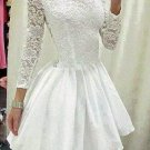 Lace Chiffon Homecoming Dress, White Long Sleeves Homecoming Dress