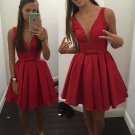 Sleeveless Short Bowknot Straps Red 2017 Homecoming Dress