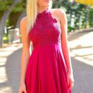 Mini A-Line Halter Lace Homecoming Dress