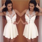 Halter New A-Line Short Lace Homecoming Dress