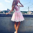 Long Sleeves Knee-Length Tulle Homecoming Dress with Appliques