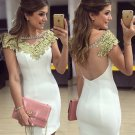 Appliques Homecoming Dresses Short Sleeves Dresses with Beadings