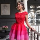 2017 Red Homecoming Dresses Lace Sleeves Multi Colors Short Cocktail Dress
