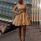 Appliques Long-Sleeves Sheer Short Gold Homecoming Dresses
