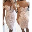Short Sheath Off-the-Shoulder Lace Buttons Homecoming Dress 2017
