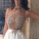 Appliques Chiffon Lace Beaded Sleeveless Short Homecoming Dress