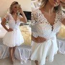 Deep V Neck White Homecoming Dress, Beadings Homecoming Dress