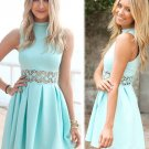 A-Line High Neck Sleeveless Blue Spandex Homecoming Dress with Lace