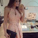 Pink Jewel Short Sleeveless A-Line Keyhole Lace Homecoming Dress