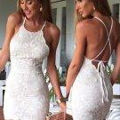 Sleeveless Short Criss-Cross Straps Sheath Halter Ivory Lace Homecoming Dress