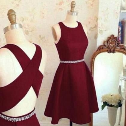 Two Pieces Homecoming Dress, Strapless Burgundy Homecoming Dress