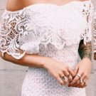 White Off Shoulder Homecoming Dress, Lace Sexy Homecoming Dress
