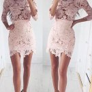 3/4 Sleeves Pink Homecoming Dress, Lace Tight Homecoming Dress