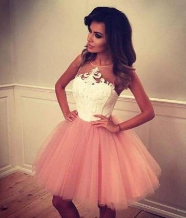 Tulle Strapless Homecoming Dress, Pink Short Homecoming Dress
