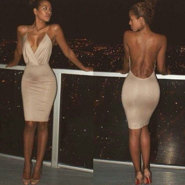 Deep V Neck Homecoming Dress, Brown Sexy Prom  Homecoming Dress