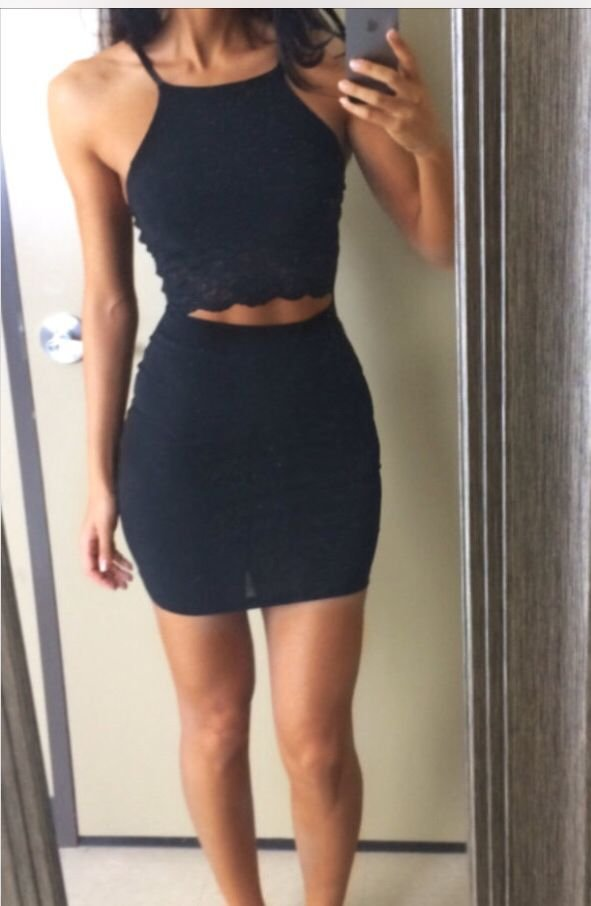 Two Pieces Black Homecoming Dress, Lace Sexy Homecoming Dress