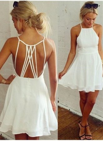 Backless White Sleeveless Mini Modest Homecoming Dress