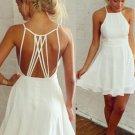Backless White Sleeveless Mini Modest Homecoming Dress
