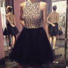 Homecoming Dresses,Short Beaded Homecoming Dresses,Stunning Halter Homecoming Dress, Black Dress