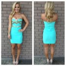 Mint Mini Short Homecoming Dress, Sexy Beadings Homecoming Dress