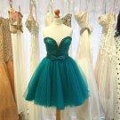 Green V Neck Tulle Homecoming Dress, Bowknot Homecoming Dress