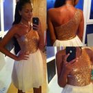 Golden One Shoulder Homecoming Dress, Sequins Homecoming Dress