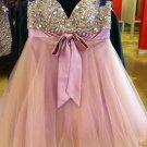 Pink Crystal Homecoming Dress, Bowknot Cute Homecoming Dress