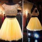 Yellow Two Pieces Homecoming Dress, Beadings Chiffon Homecoming Dress