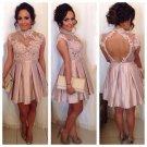 Black Long Sleeve Homecoming Dress, Blush Pink Open Back Homecoming Dress, Applique Homecoming Dress