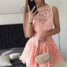 Pink Lace Sexy Homecoming Dress, Strapless Homecoming Dress