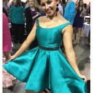 Satin Turquoise Party Dresses Beaded Formal Homecoming Dresses