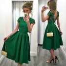 Green Satin A-Line Homecoming Dresses 2017 Beaded Sexy Backless Graduation Dress