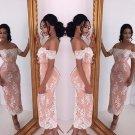 Curto Boat Neck Off the Shoulder Short Sleeve Lace AppliquesTea-Length Party Dresses