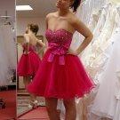 Beaded Sweetheart Mini Girls Short Bow Lovely Cheap Homecoming Dresses