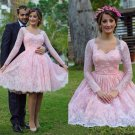 Pink Long Sleeve Homecoming Dresses Lace Lovely Girls Graduation Gowns Flower