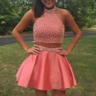 Beaded Glitter Dress for Girls Coral Two Pieces Homecoming Dresses Satin Short Cocktail Dress